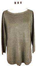 TALBOTS XL Bronze Boat Neck Linen 3/4 Sleeve Knit Sweater
