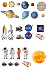 27 Stand Up Planets Outer Space Rocket Wafer Paper Edible Cupcake Toppers