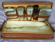 Old travel kit leather deco bathroom vintage toiletry vanity grooming washbag