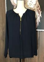 Michael Kors Womens 6 Top Navy Blue 1/4 Zip Long Sleeve Tunic Blouse