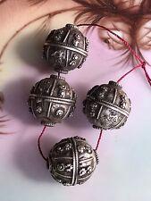 Antique Yemenite Bowsani Silver Globe Pendants - 22 mm x 21 mm - (Late 1800's)