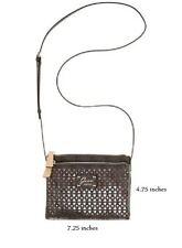 GUESS Park Lane Perforated Petite Double Zip Crossbody Handbag in BLACK -NEW