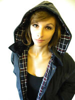 New Wax Jacket Navy Blue Padded Ladies Country Classic Waxed Coat With Hood