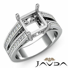 Pave Set Diamond Princess Shape Semi Mount Engagement Ring 18k White Gold 0.75Ct