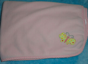 Old Navy Pink Micro Fleece Baby Blanket Polka Dot Butterfly