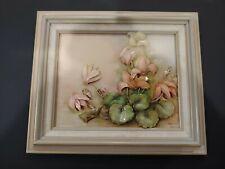 Original enameled decoupage art work featuring Sonie Ames Cyclamen