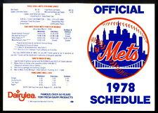 1978 MLB Baseball Official New York Mets Pocket Schedule UNMARKED NM Original