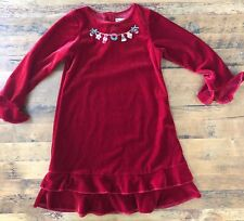 Good Lad Girls Red Velvet Dress Size 6X Beaded Christmas Ornaments Holiday