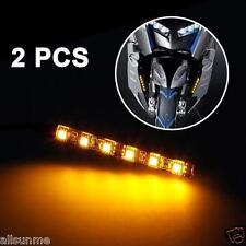 2x mini bande noir led motorcycle turn signal universel amber lights strip 6LED