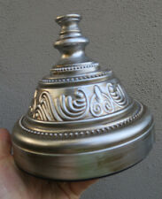 1  tole metal lamp vase compote candle stand base part shabby silver tone heavy