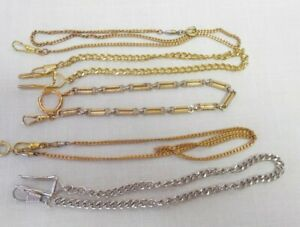 VINTAGE LOT OF 5 POCKET WATCH CHAINS FOB'S. GOLD, SILVER. & BRASS TONES NICE LOT