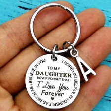 To My Daughter 26 Letters Keychain DIY Car Keyring Stainless Steel Jewelry Gifts