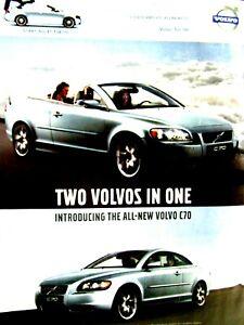 "2006 Volvo C70 Convertible And 3 Piece Retractable Original Print Ad 8.5 x 11"""