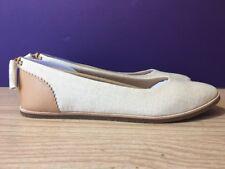 New UGG Mesa Women's Flats Canvas Nubuck Tassel Flats Size 11 Cream/Linen