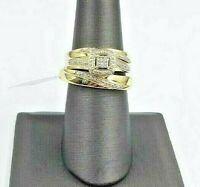 Solid 10k Gold Real Diamonds His Hers Wedding Ring Trio-Set Men Women Size 7,10