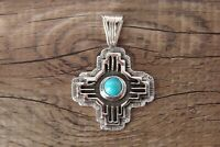 Navajo Indian Jewelry Sterling Silver Turquoise Zia Symbol Pendant -A. Spencer