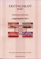 """BRD MiNr 929-932 ETB 10-77 """"Jugend 1977"""": Deutsche Schiffe"""