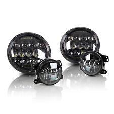 "P.RA 7"" Round 75W LED Headlight + 4"" 30W Fog Light 1997-2016 Jeep Wrangler JK"