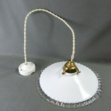 Vintage French Ruffled Opaline Milk Glass Ceiling Shade, w/Hardware, Ø 10""