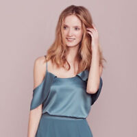 LC Lauren Conrad Womens Blue Cold Shoulder Top Dressy Spaghetti Strap Sz XL NWT