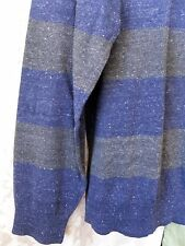 Sonoma Pull-Over Fine Gauge Cotton Sweater Long Sleeve Navy Blue Gray Sz XXL