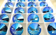 2 Sapphire Glacier Blue Swarovski Crystal Rivoli Stone 1122 14mm
