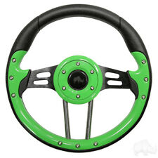 Golf Cart Aviator 4 Lime Green Grip/Black Spokes Steering Wheel