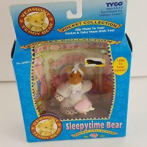 "1995 Tyco Vermont Teddy Bear Sleepytime Bear Pocket Collection In Box HTF 3"""