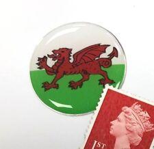 Wales Flag Sticker Super Shiny Domed Finish 30mm Diameter - Cymru - Welsh Dragon