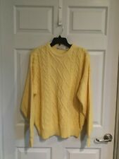Lord Jeff Men  Large Cable Pattern Long Sleeve Sweater Yellow  Round Neck