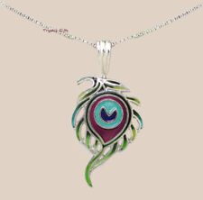 """Zarah PEACOCK FEATHER Pendant NECKLACE Silver Plated 18"""" Chain + Wrapped Box"""
