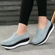 Women's Rocker Sole Platform Shoes Wedge Suede Slip On Loafers Casual   *