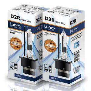 2 x D2R Genuine LUNEX XENON HEADLIGHT BULBS REPLACEMENT FOR PHILIPS OSRAM 6000K