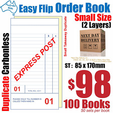 100x Mid Takeaway Duplicate Carbonless Restaurant Docket Order Book 85x170 RD132