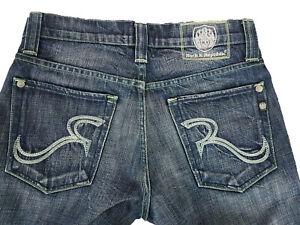 Rock & Republic Blue Jeans Cotton Button Fly Stitches Size 31 Mens W32 JE93