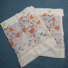 """Vtg  Sheer Floral Embroidered Curtains Valance ×2 Orange Yellow 17""""×28"""" Kitschy"""