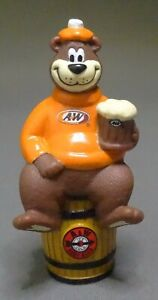 A&W Root Beer figural Bear on Barrel PVC figure 2001  4""
