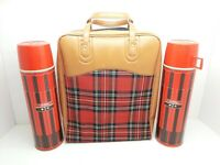 Vintage 1971 King-Seeley Red Plaid/Tan Picnic Bag & Two Red Plaid Thermos #2410