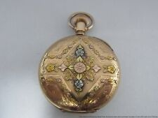 Stunning Multi Color Gold Hunter Case Running Waltham Fancy Dial Pocket Watch