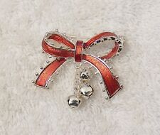 Trimming Tie Red Silver Tone X17N Classic Pin Brooch Whimsical Bow Ribbon Satin