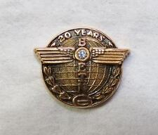 Vintage Solid 10K Gold BOEING AIRCRAFT 20 YEARS SERVICE PIN w Diamond CTO
