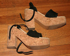 Womens TWO LIPS CORK HEEL/ PLATFORM Strappy Shoes SANDALS Black Suede - Size 6