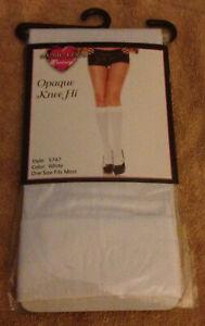 Music Legs Opaque Knee Hi 5747 Nylon Stocking Hosiery  White-One Size A1