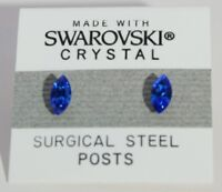 Blue Oval Stud Earrings 8mm Royal Crystal Made with Swarovski Elements Gift