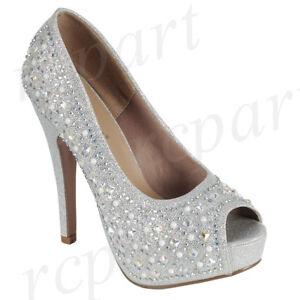 New women's shoes evening rhinestones slip on high heel wedding prom silver