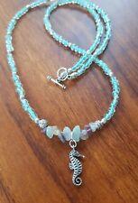 Wrap Bracelet/Necklace Seahorse Beads Sea Gypsy Ocean Fluorite Green SeaGlass