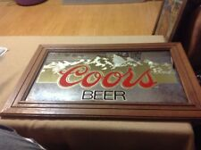 Coors Light Beer Mirror Bar Sign Wood Frame - Great For Home Bar