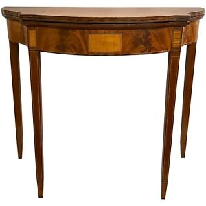 Hepplewhite Federal Style Mahogany Game Table with Nice Inlay