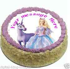 Barbie Unicorn Cake topper edible image icing Birthday Party  REAL FONDANT (574)