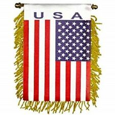 Usa Mini Banner Flag Great For Car & Home Window Mirror Hanging 2 Sided